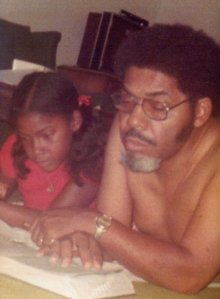 Me and My dad, Louis H Anderson, Sr. doing homework 1973.